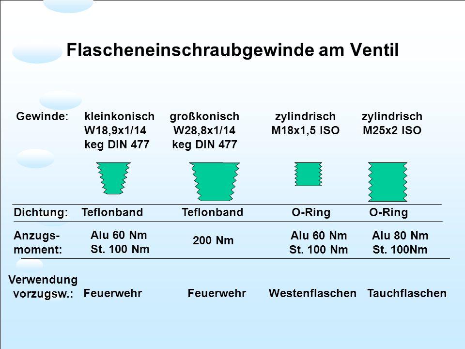 Dichtung: Teflonband Teflonband O-Ring O-Ring Anzugs- moment: Alu 60 Nm St. 100 Nm 200 Nm Alu 60 Nm St. 100 Nm Alu 80 Nm St. 100Nm Gewinde:kleinkonisc