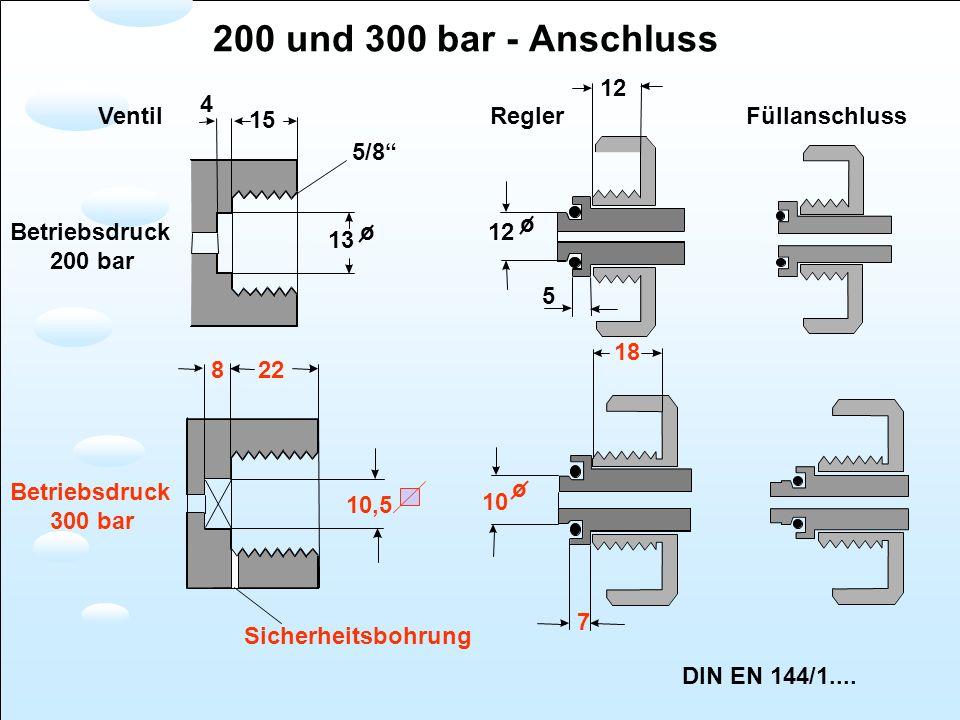 Betriebsdruck 200 bar Betriebsdruck 300 bar 12 15 4 5/8 13 o12 o 5 822 18 10,5 10 o Sicherheitsbohrung VentilReglerFüllanschluss DIN EN 144/1.... 7 20