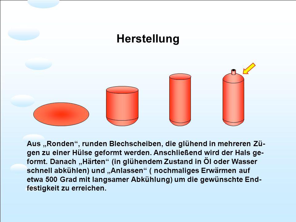 Herstellung Aus Ronden, runden Blechscheiben, die glühend in mehreren Zü- gen zu einer Hülse geformt werden. Anschließend wird der Hals ge- formt. Dan