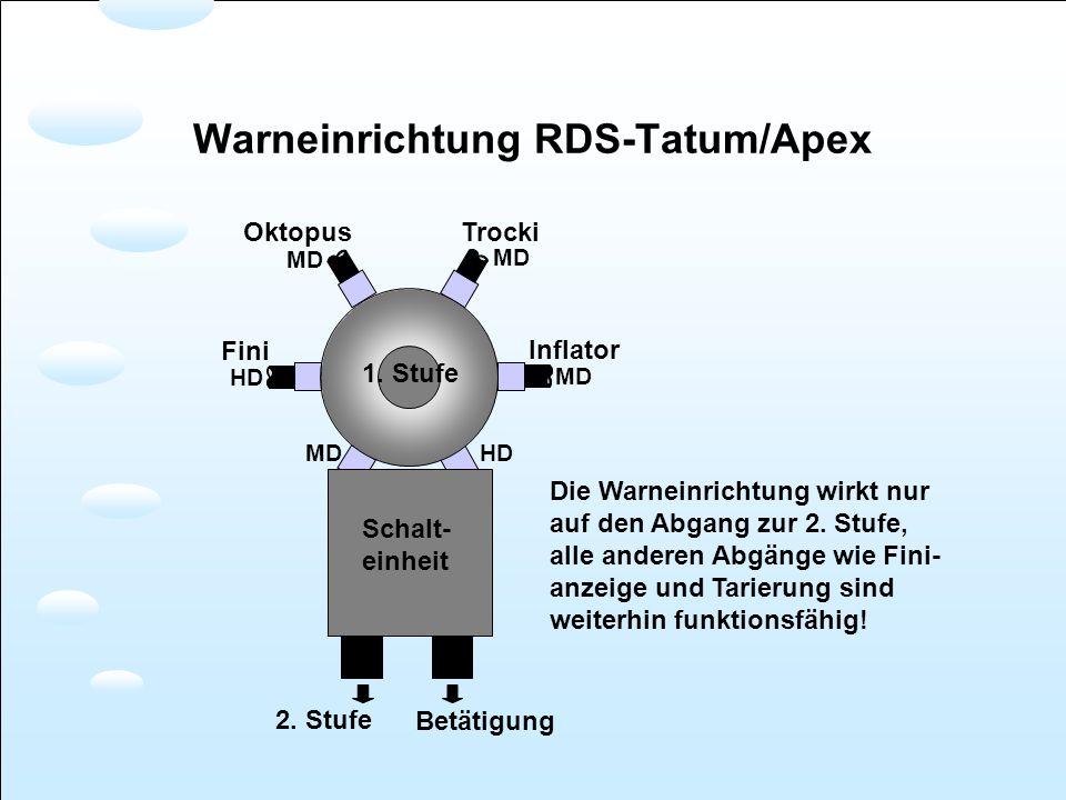Warneinrichtung RDS-Tatum/Apex 1. Stufe Schalt- einheit MD HD Fini Inflator TrockiOktopus 2. Stufe Betätigung MD HD Die Warneinrichtung wirkt nur auf