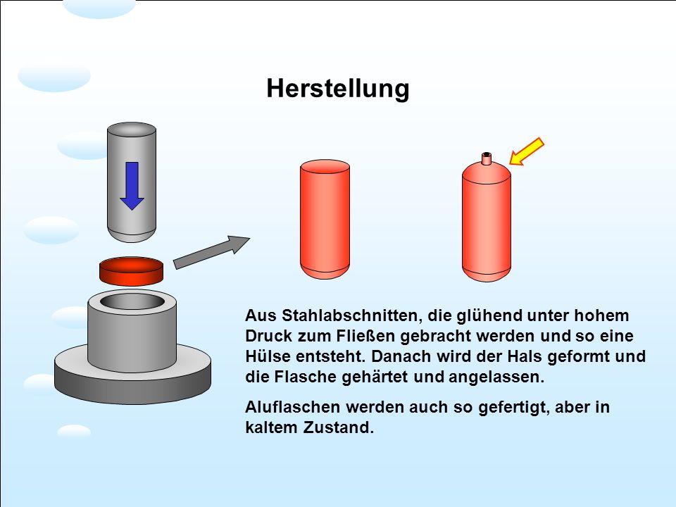 Herstellung Aus Stahlabschnitten, die glühend unter hohem Druck zum Fließen gebracht werden und so eine Hülse entsteht. Danach wird der Hals geformt u
