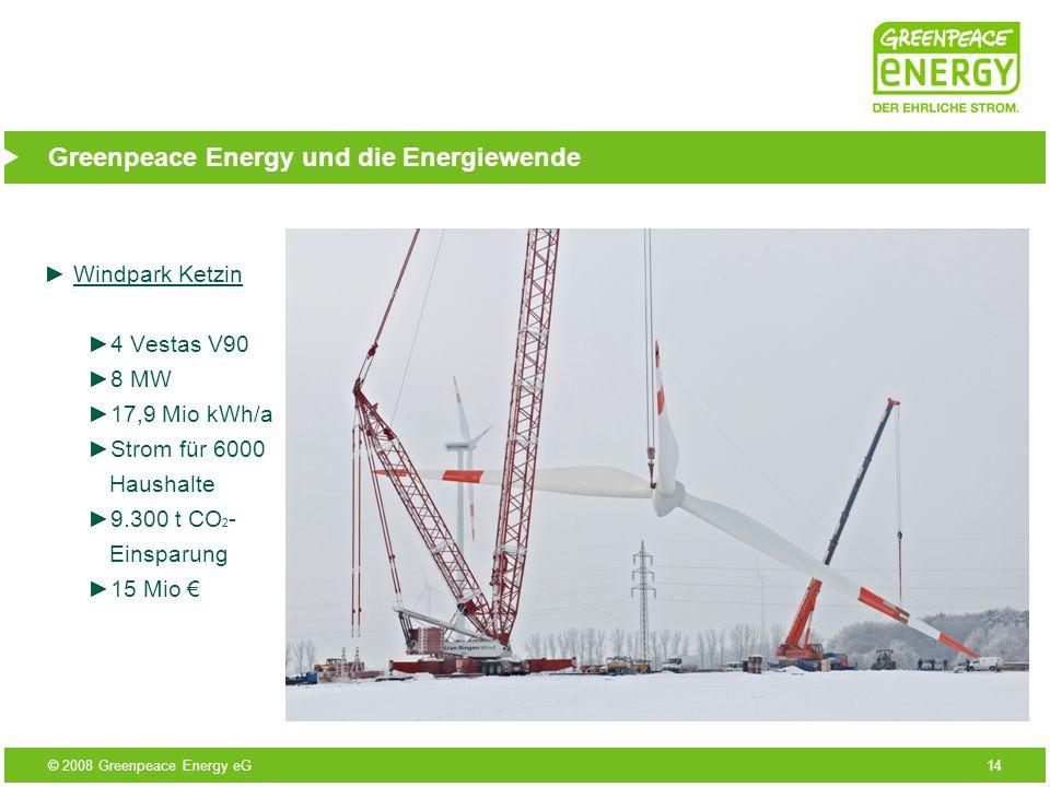 © 2008 Greenpeace Energy eG14 Greenpeace Energy und die Energiewende Windpark Ketzin 4 Vestas V90 8 MW 17,9 Mio kWh/a Strom für 6000 Haushalte 9.300 t
