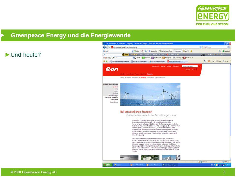 © 2008 Greenpeace Energy eG14 Greenpeace Energy und die Energiewende Windpark Ketzin 4 Vestas V90 8 MW 17,9 Mio kWh/a Strom für 6000 Haushalte 9.300 t CO 2 - Einsparung 15 Mio