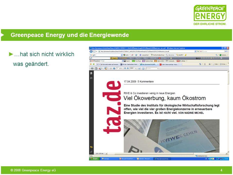 © 2008 Greenpeace Energy eG5 Greenpeace Energy und die Energiewende E.on, RWE, Vattenfall und EnBW beherrschen 80 bis 90 Prozent der deutschen Stromproduktion; bezogen zwar zwischen 2 und 20 Prozent ihres Stroms aus erneuerbaren Energien – meistens jedoch aus alten Wasserkraftwerken; aus neu gebauten Kraftwerken stammen nur 0,1 bis 1,7 Prozent; in Zukunft wollen die Konzerne zwischen 10 % (E.on) und 15 % (RWE) ihrer Investitionen in erneuerbare Energien stecken; die großen Konzerne stecken auch weiterhin das meiste Geld in Atom und Kohle und behindern damit die Energiewende.