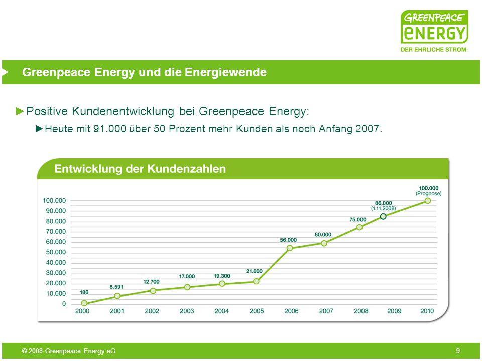 © 2008 Greenpeace Energy eG10 Greenpeace Energy und die Energiewende Wichtig ist deshalb, zu einem ökologisch engagierten Anbieter zu wechseln.