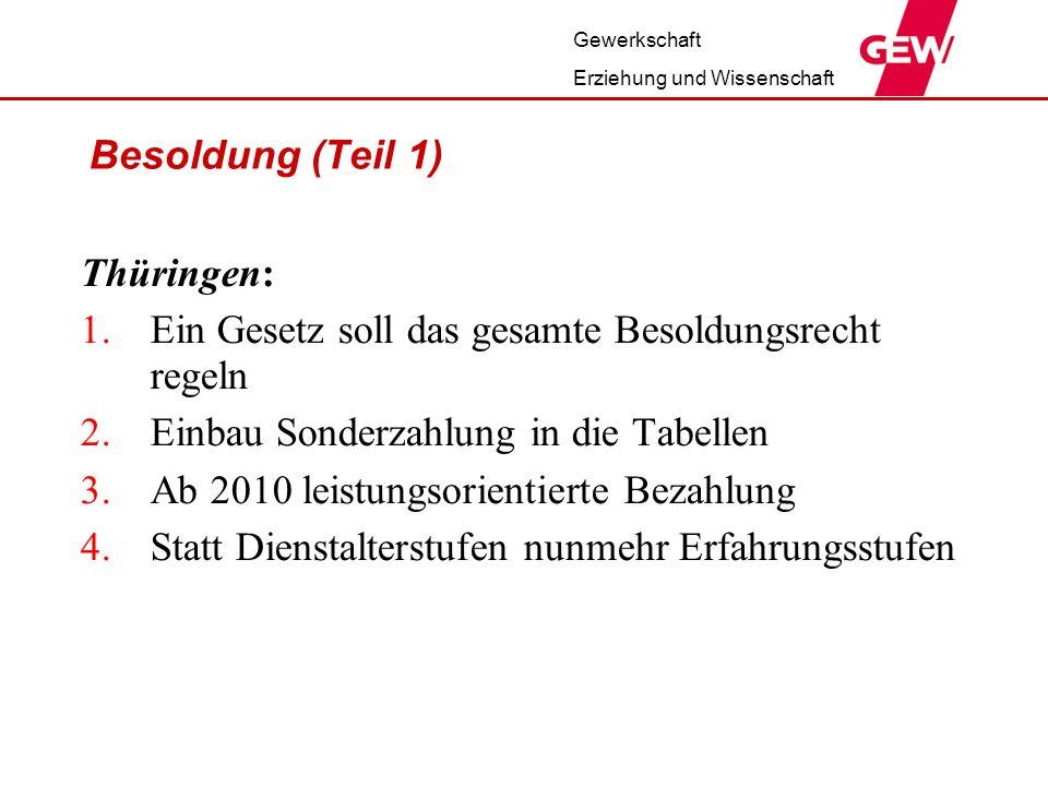 Gewerkschaft Erziehung und Wissenschaft Besoldung (Teil 1) Thüringen: 1.Ein Gesetz soll das gesamte Besoldungsrecht regeln 2.Einbau Sonderzahlung in d
