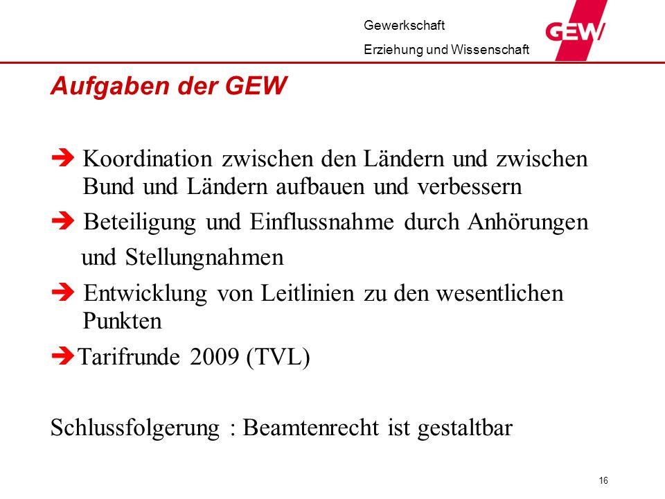 Gewerkschaft Erziehung und Wissenschaft 16 Aufgaben der GEW Koordination zwischen den Ländern und zwischen Bund und Ländern aufbauen und verbessern Be