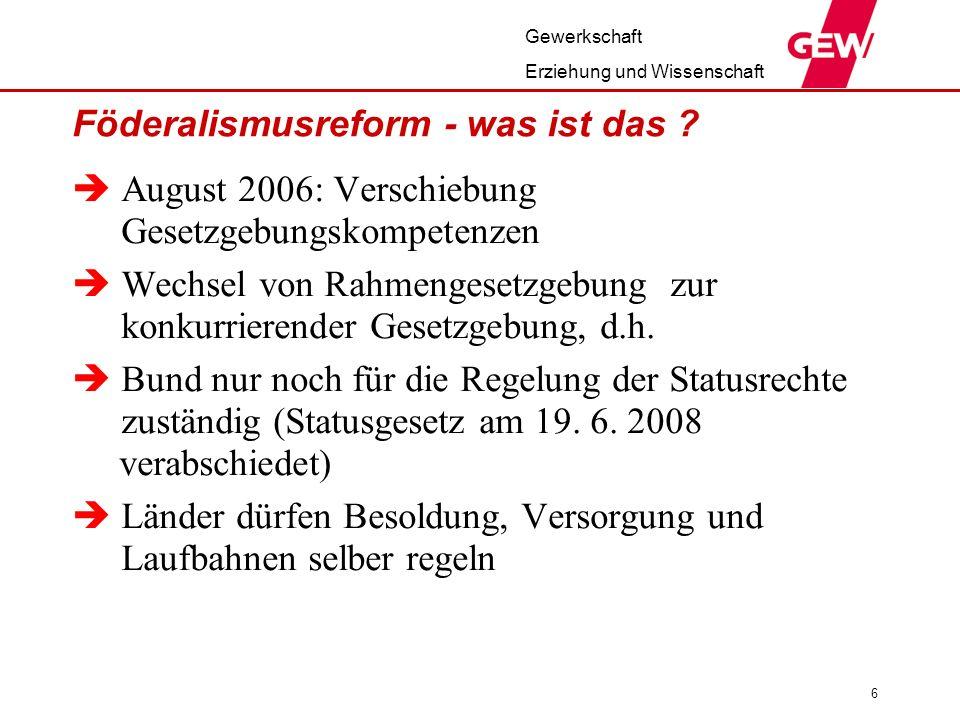 Gewerkschaft Erziehung und Wissenschaft 6 Föderalismusreform - was ist das ? August 2006: Verschiebung Gesetzgebungskompetenzen Wechsel von Rahmengese