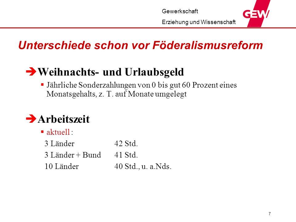 Gewerkschaft Erziehung und Wissenschaft 8 Besoldung in den Ländern seit 2006 Bayern, Niedersachsen: 3% NRW, Saarland u.a.: 2,9% Baden–Württemberg: 2 x 1,5% Hessen: 2,4% Hamburg: 1,9% Brandenburg: 1,5% Rheinland-Pfalz: 0,5% Berlin: keine Zeitpunkte: 07/07, 10/07, 01/08, 04/08, 07/08
