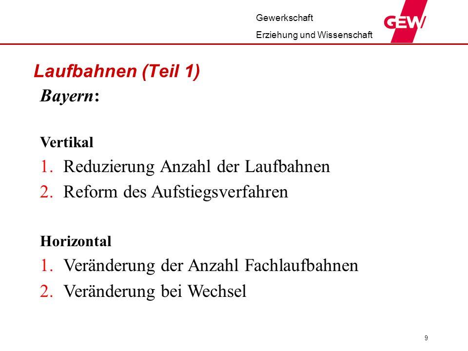 Gewerkschaft Erziehung und Wissenschaft 9 Laufbahnen (Teil 1) Bayern: Vertikal 1.Reduzierung Anzahl der Laufbahnen 2.Reform des Aufstiegsverfahren Hor