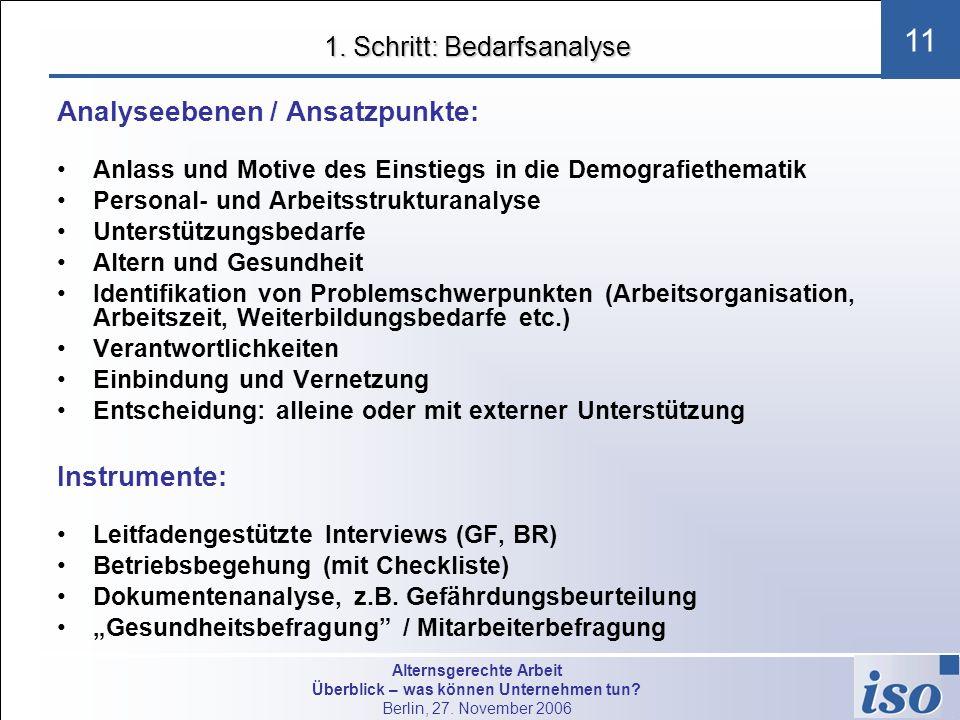 Alternsgerechte Arbeit Überblick – was können Unternehmen tun? Berlin, 27. November 2006 11 1. Schritt: Bedarfsanalyse Analyseebenen / Ansatzpunkte: A