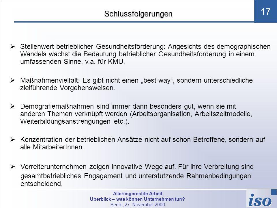 Alternsgerechte Arbeit Überblick – was können Unternehmen tun? Berlin, 27. November 2006 17Schlussfolgerungen Stellenwert betrieblicher Gesundheitsför