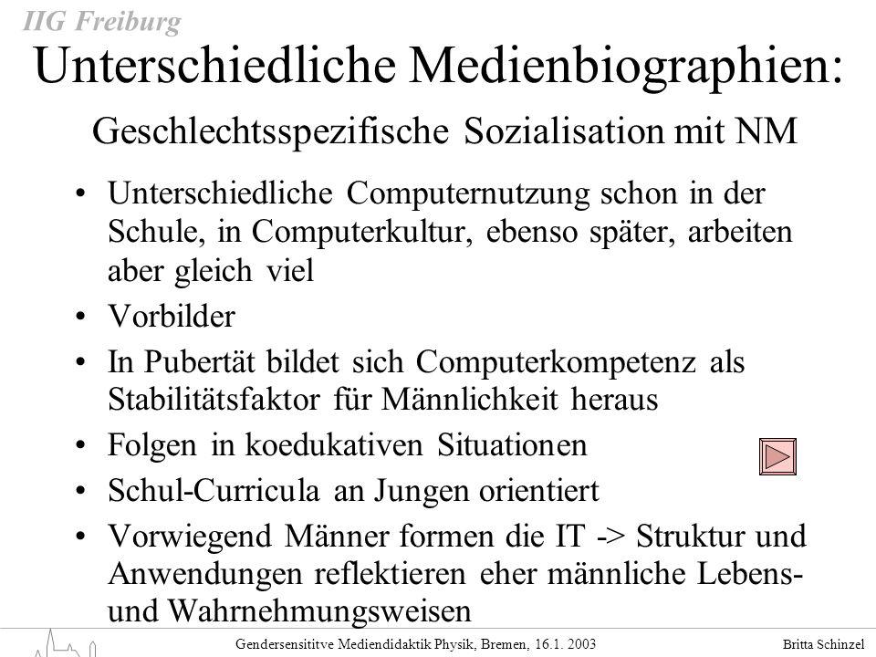 Britta Schinzel Gendersensititve Mediendidaktik Physik, Bremen, 16.1. 2003 IIG Freiburg Unterschiedliche Medienbiographien: Geschlechtsspezifische Soz