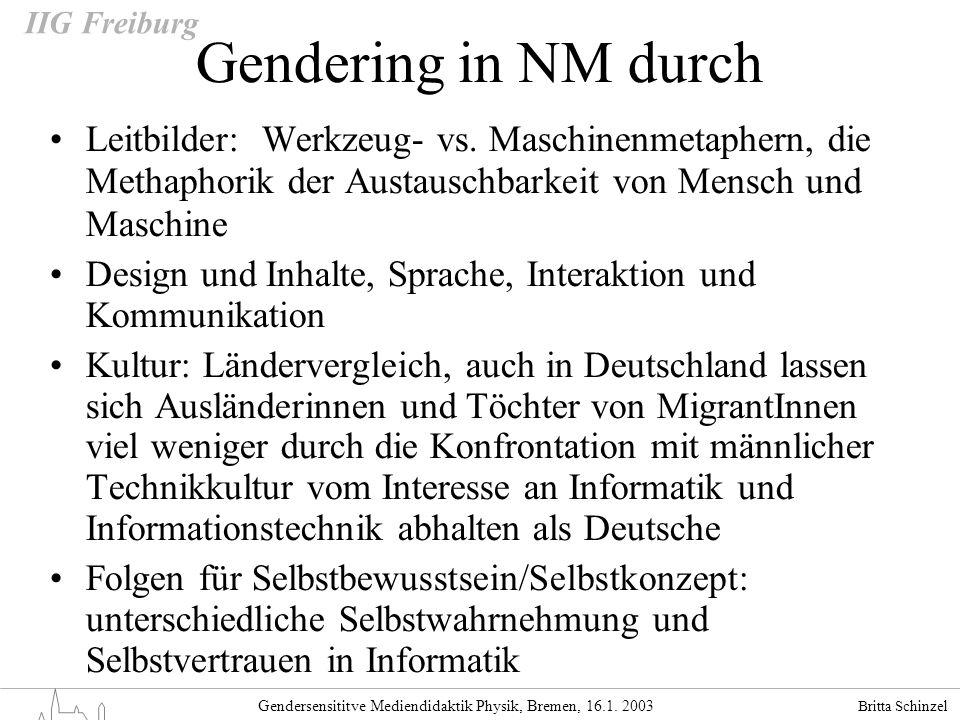 Britta Schinzel Gendersensititve Mediendidaktik Physik, Bremen, 16.1. 2003 IIG Freiburg Gendering in NM durch Leitbilder: Werkzeug- vs. Maschinenmetap