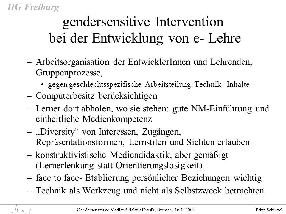 Britta Schinzel Gendersensititve Mediendidaktik Physik, Bremen, 16.1. 2003 IIG Freiburg –Arbeitsorganisation der EntwicklerInnen und Lehrenden, Gruppe