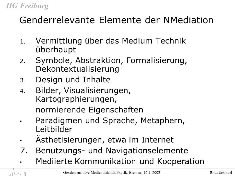 Britta Schinzel Gendersensititve Mediendidaktik Physik, Bremen, 16.1. 2003 IIG Freiburg Genderrelevante Elemente der NMediation 1. Vermittlung über da