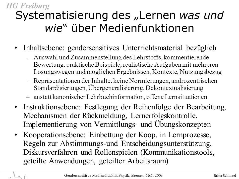 Britta Schinzel Gendersensititve Mediendidaktik Physik, Bremen, 16.1. 2003 IIG Freiburg Inhaltsebene: gendersensitives Unterrichtsmaterial bezüglich –