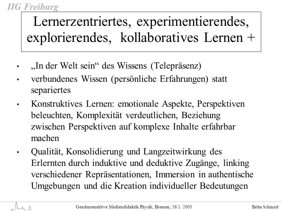 Britta Schinzel Gendersensititve Mediendidaktik Physik, Bremen, 16.1. 2003 IIG Freiburg Lernerzentriertes, experimentierendes, explorierendes, kollabo