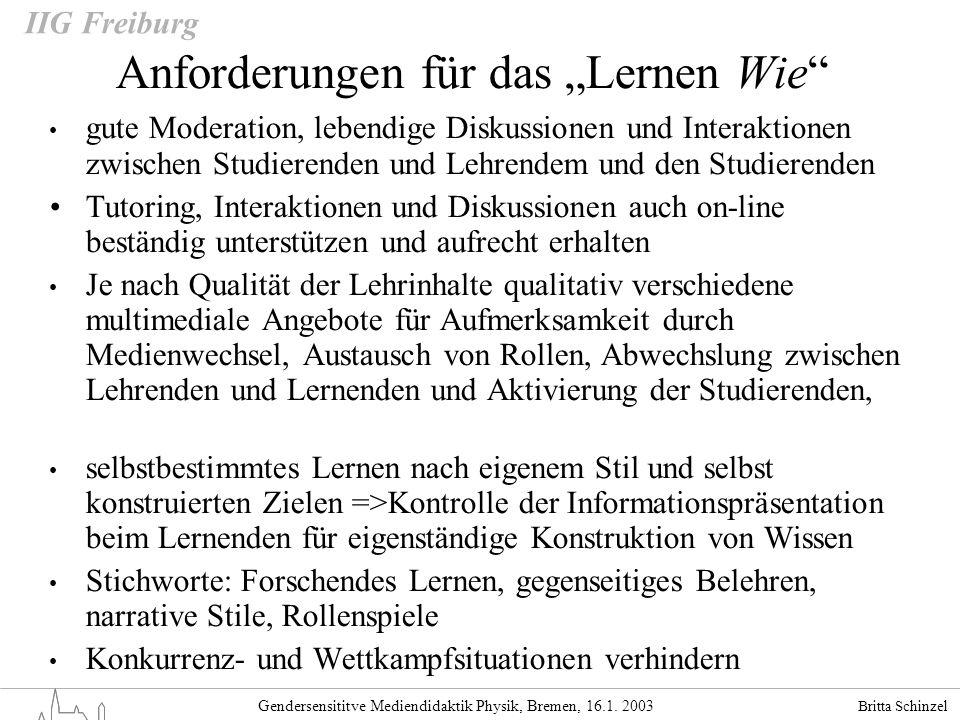 Britta Schinzel Gendersensititve Mediendidaktik Physik, Bremen, 16.1. 2003 IIG Freiburg Anforderungen für das Lernen Wie gute Moderation, lebendige Di