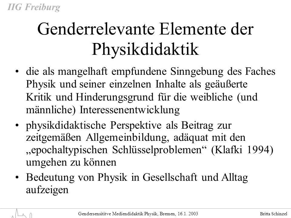 Britta Schinzel Gendersensititve Mediendidaktik Physik, Bremen, 16.1. 2003 IIG Freiburg Genderrelevante Elemente der Physikdidaktik die als mangelhaft