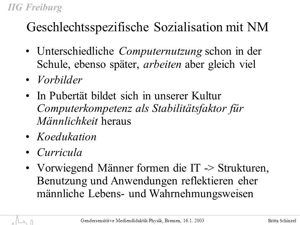 Britta Schinzel Gendersensititve Mediendidaktik Physik, Bremen, 16.1. 2003 IIG Freiburg Geschlechtsspezifische Sozialisation mit NM Unterschiedliche C
