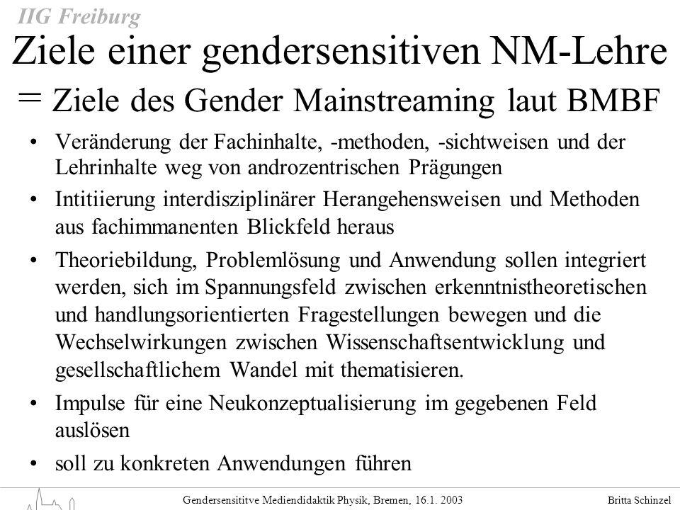Gendersensititve Mediendidaktik Physik, Bremen, 16.1. 2003 IIG Freiburg Ziele einer gendersensitiven NM-Lehre = Ziele des Gender Mainstreaming laut BM