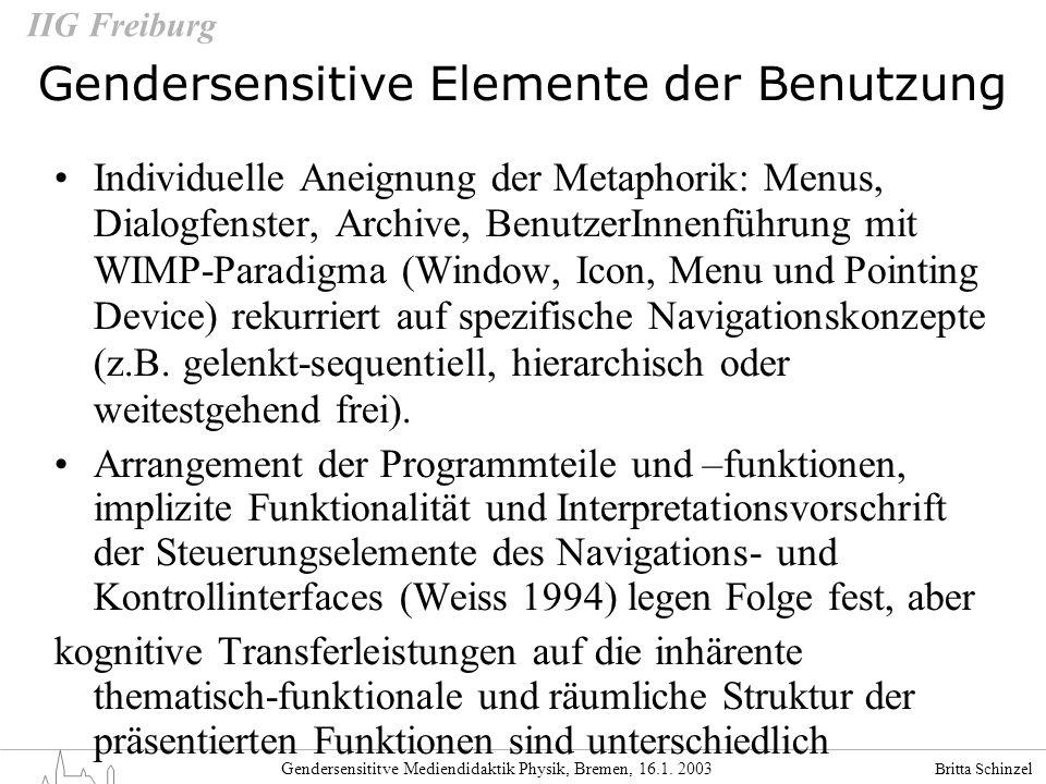 Britta Schinzel Gendersensititve Mediendidaktik Physik, Bremen, 16.1. 2003 IIG Freiburg Gendersensitive Elemente der Benutzung Individuelle Aneignung