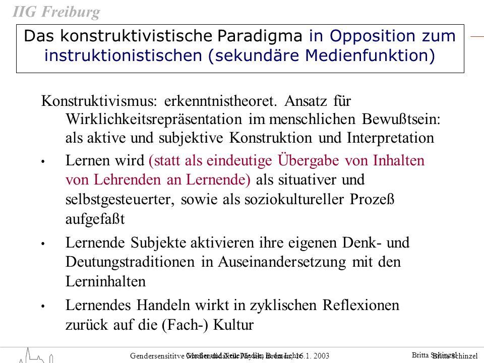 Britta Schinzel Gendersensititve Mediendidaktik Physik, Bremen, 16.1. 2003 IIG Freiburg Das konstruktivistische Paradigma in Opposition zum instruktio