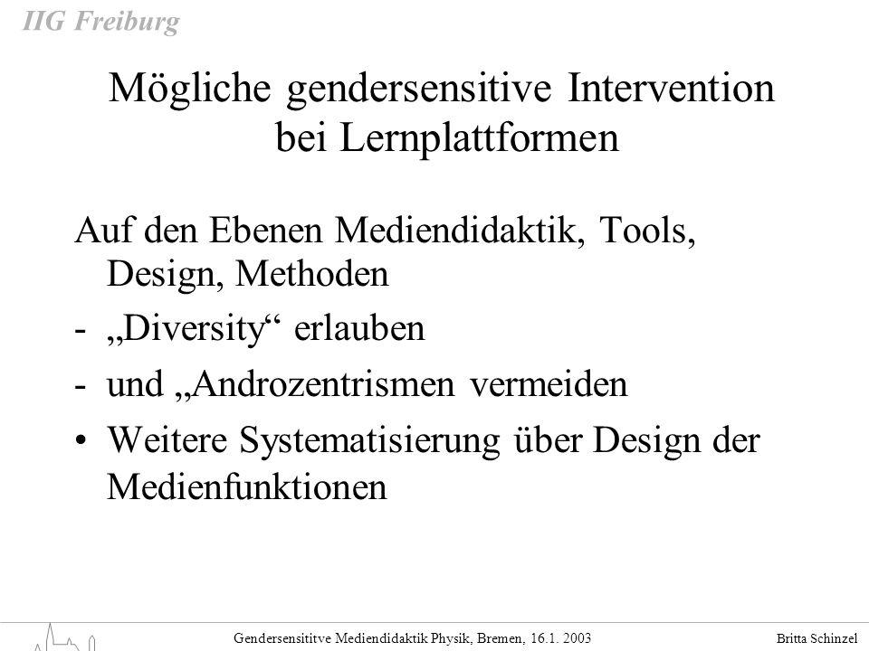 Britta Schinzel Gendersensititve Mediendidaktik Physik, Bremen, 16.1. 2003 IIG Freiburg Mögliche gendersensitive Intervention bei Lernplattformen Auf