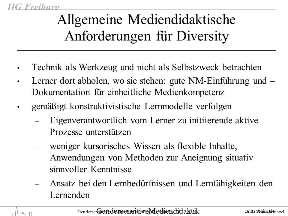 Britta Schinzel Gendersensititve Mediendidaktik Physik, Bremen, 16.1. 2003 IIG Freiburg Allgemeine Mediendidaktische Anforderungen für Diversity Techn