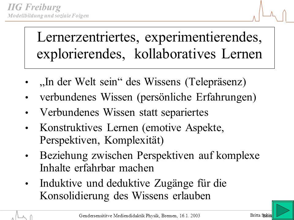 Gendersensititve Mediendidaktik Physik, Bremen, 16.1. 2003 IIG Freiburg Lernerzentriertes, experimentierendes, explorierendes, kollaboratives Lernen I