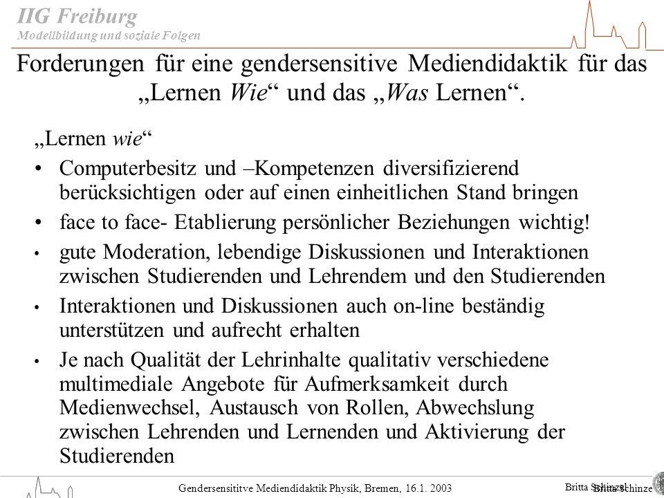 Gendersensititve Mediendidaktik Physik, Bremen, 16.1. 2003 IIG Freiburg Forderungen für eine gendersensitive Mediendidaktik für das Lernen Wie und das