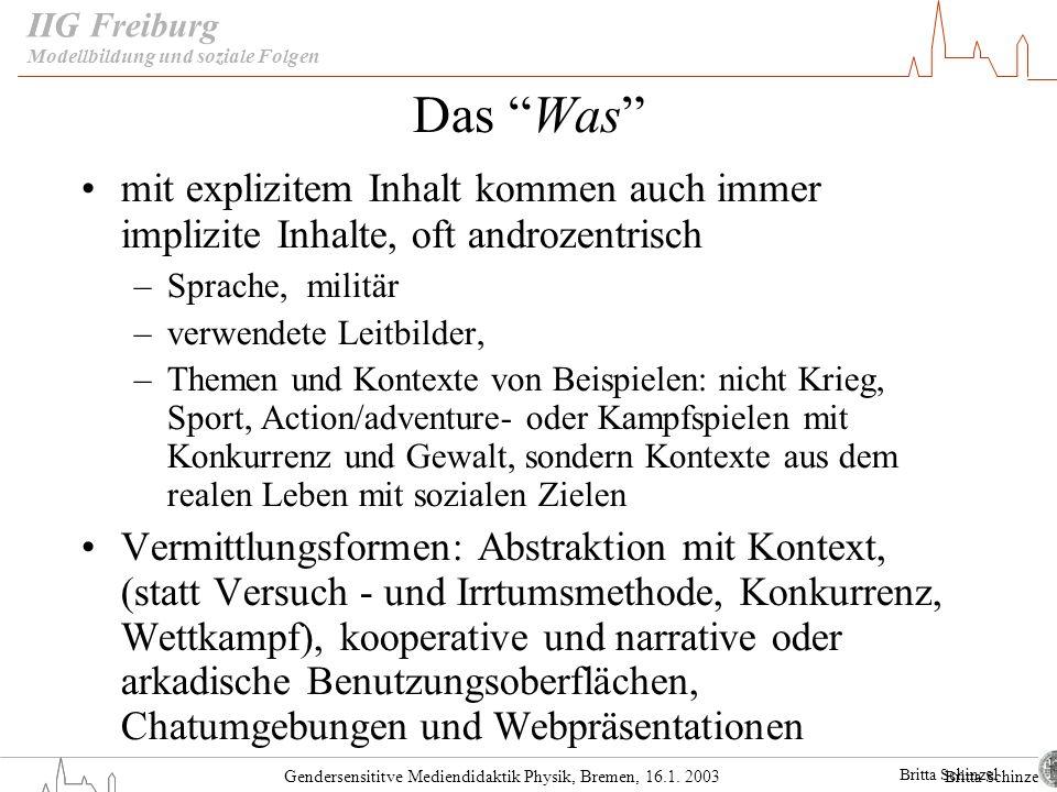 Gendersensititve Mediendidaktik Physik, Bremen, 16.1. 2003 IIG Freiburg Das Was mit explizitem Inhalt kommen auch immer implizite Inhalte, oft androze