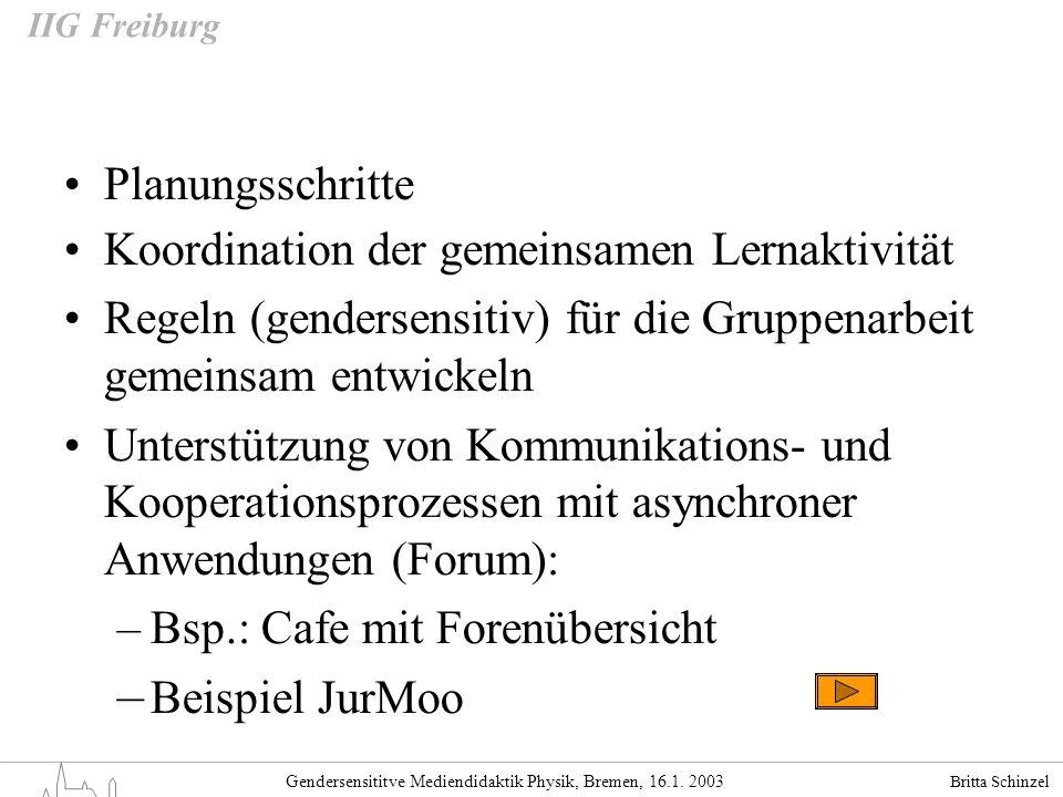 Britta Schinzel Gendersensititve Mediendidaktik Physik, Bremen, 16.1. 2003 IIG Freiburg Planungsschritte Koordination der gemeinsamen Lernaktivität Re