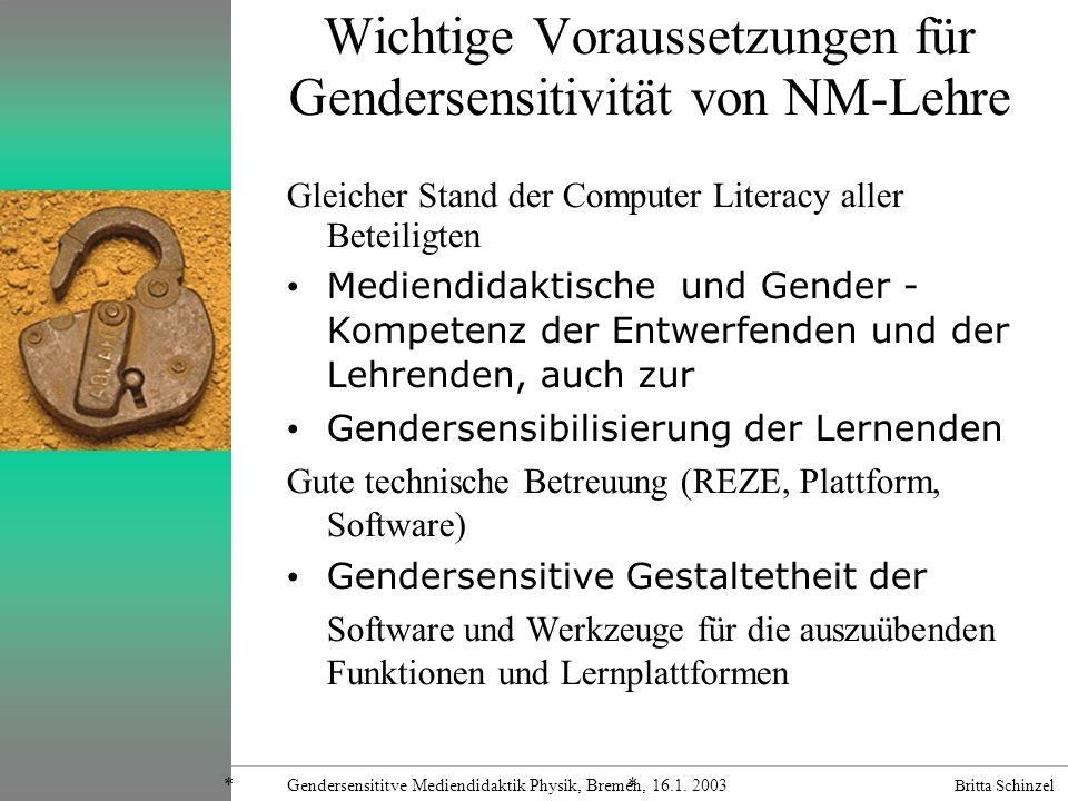 Britta Schinzel Gendersensititve Mediendidaktik Physik, Bremen, 16.1. 2003 IIG Freiburg Wichtige Voraussetzungen für Gendersensitivität von NM-Lehre G