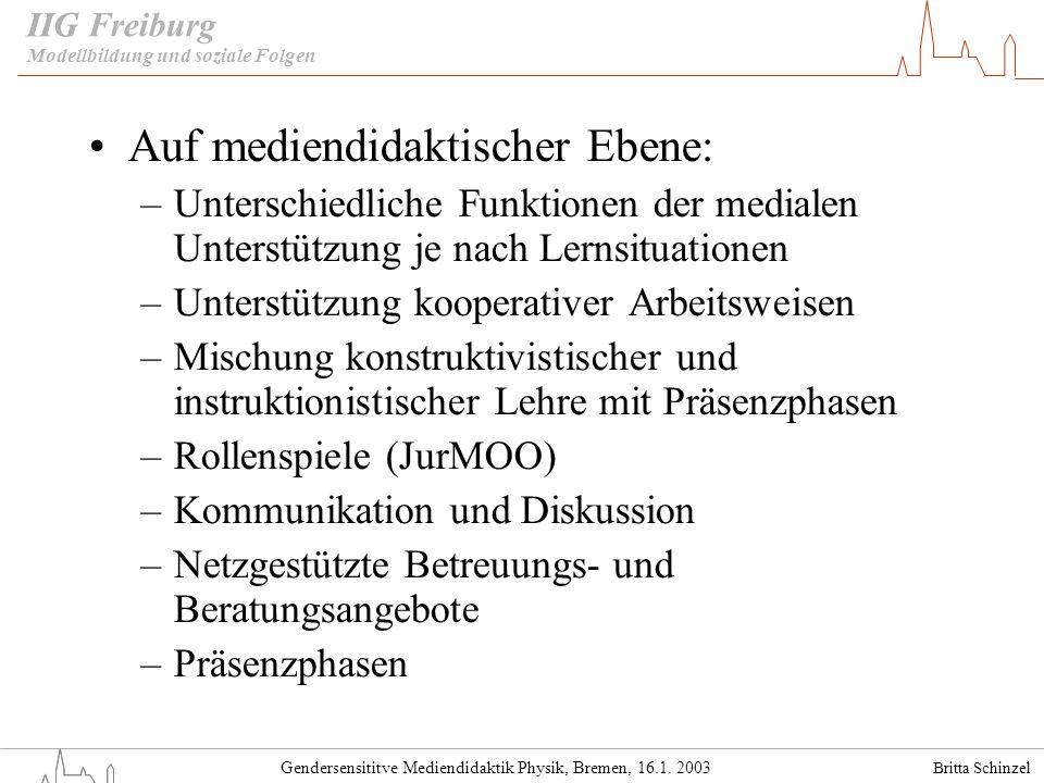 Britta Schinzel Gendersensititve Mediendidaktik Physik, Bremen, 16.1. 2003 IIG Freiburg Auf mediendidaktischer Ebene: –Unterschiedliche Funktionen der