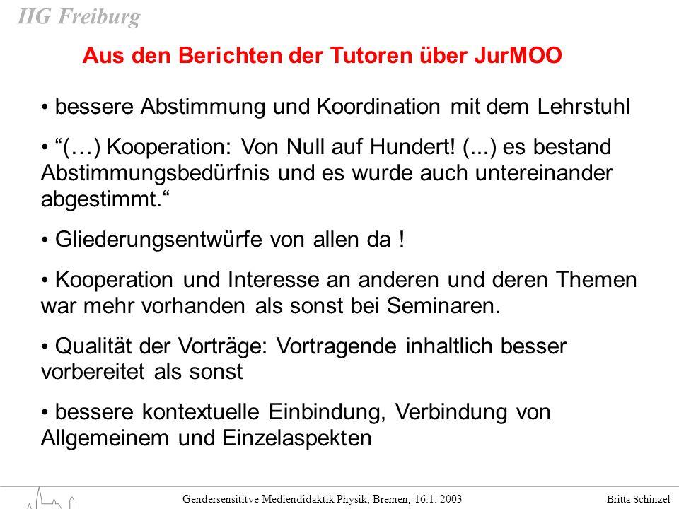 Britta Schinzel Gendersensititve Mediendidaktik Physik, Bremen, 16.1. 2003 IIG Freiburg Aus den Berichten der Tutoren über JurMOO bessere Abstimmung u