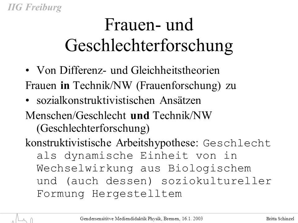 Britta Schinzel Gendersensititve Mediendidaktik Physik, Bremen, 16.1. 2003 IIG Freiburg Frauen- und Geschlechterforschung Von Differenz- und Gleichhei