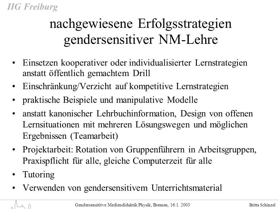 Britta Schinzel Gendersensititve Mediendidaktik Physik, Bremen, 16.1. 2003 IIG Freiburg nachgewiesene Erfolgsstrategien gendersensitiver NM-Lehre Eins