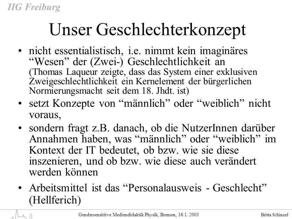 Britta Schinzel Gendersensititve Mediendidaktik Physik, Bremen, 16.1. 2003 IIG Freiburg Unser Geschlechterkonzept nicht essentialistisch, i.e. nimmt k