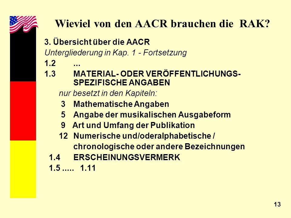 13 Wieviel von den AACR brauchen die RAK? 3. Übersicht über die AACR Untergliederung in Kap. 1 - Fortsetzung 1.2... 1.3 MATERIAL- ODER VERÖFFENTLICHUN