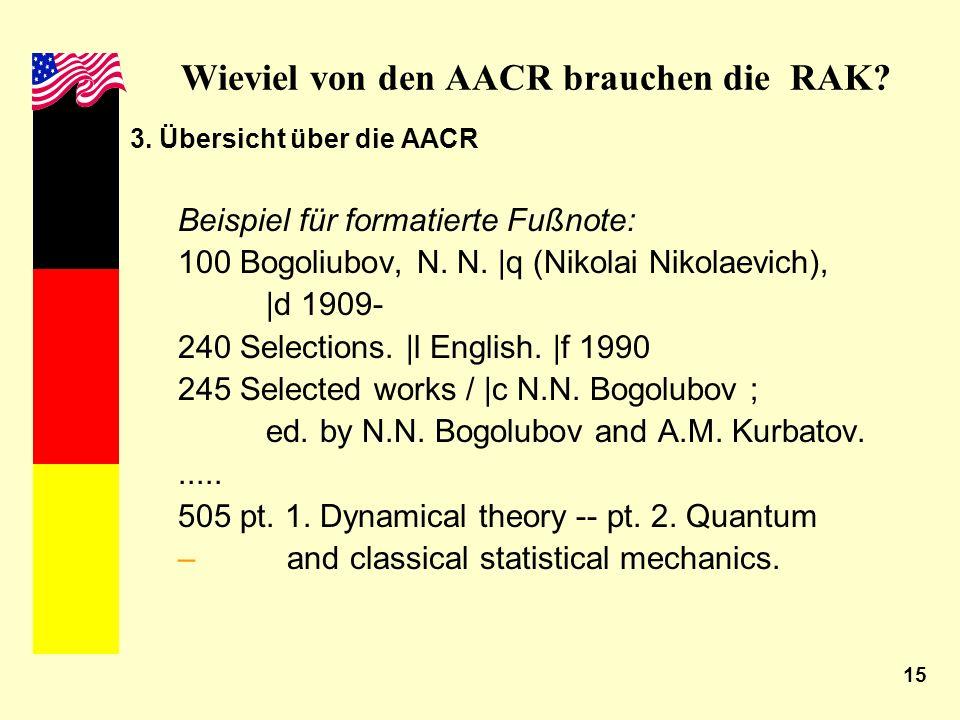 15 Wieviel von den AACR brauchen die RAK? 3. Übersicht über die AACR Beispiel für formatierte Fußnote: 100 Bogoliubov, N. N. |q (Nikolai Nikolaevich),