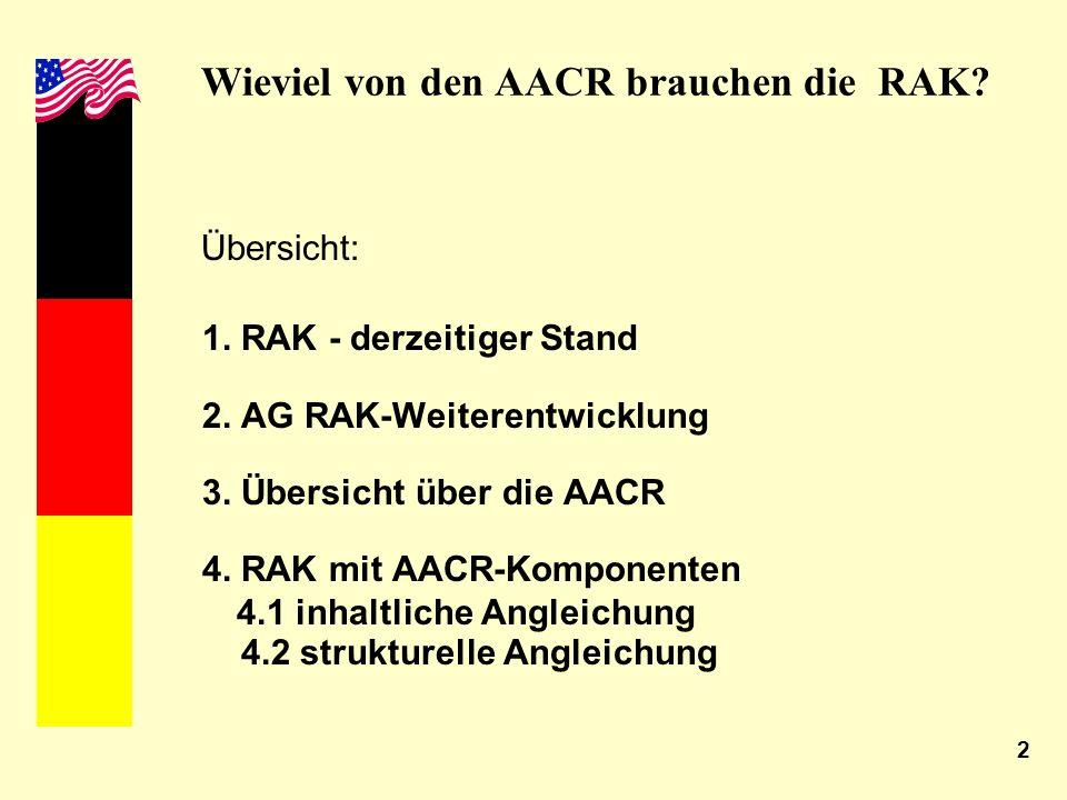 2 Wieviel von den AACR brauchen die RAK? Übersicht: 1. RAK - derzeitiger Stand 2. AG RAK-Weiterentwicklung 3. Übersicht über die AACR 4. RAK mit AACR-