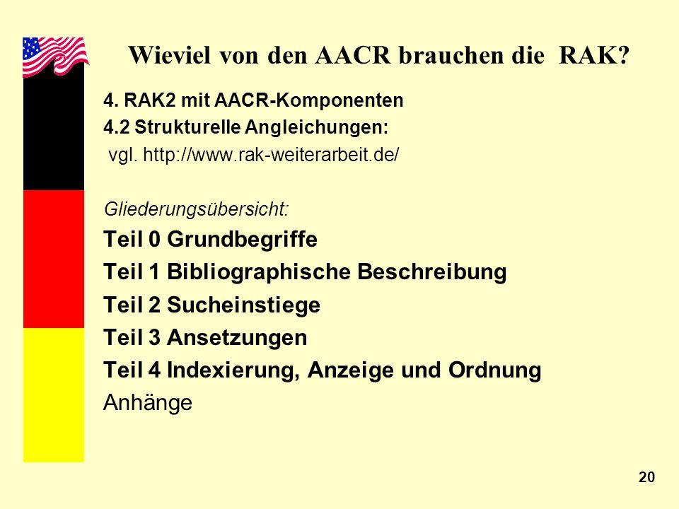 20 Wieviel von den AACR brauchen die RAK? 4. RAK2 mit AACR-Komponenten 4.2 Strukturelle Angleichungen: vgl. http://www.rak-weiterarbeit.de/ Gliederung