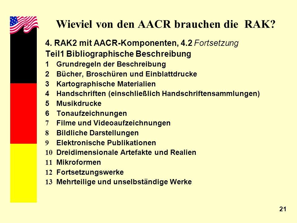 21 Wieviel von den AACR brauchen die RAK? 4. RAK2 mit AACR-Komponenten, 4.2 Fortsetzung Teil1 Bibliographische Beschreibung 1Grundregeln der Beschreib