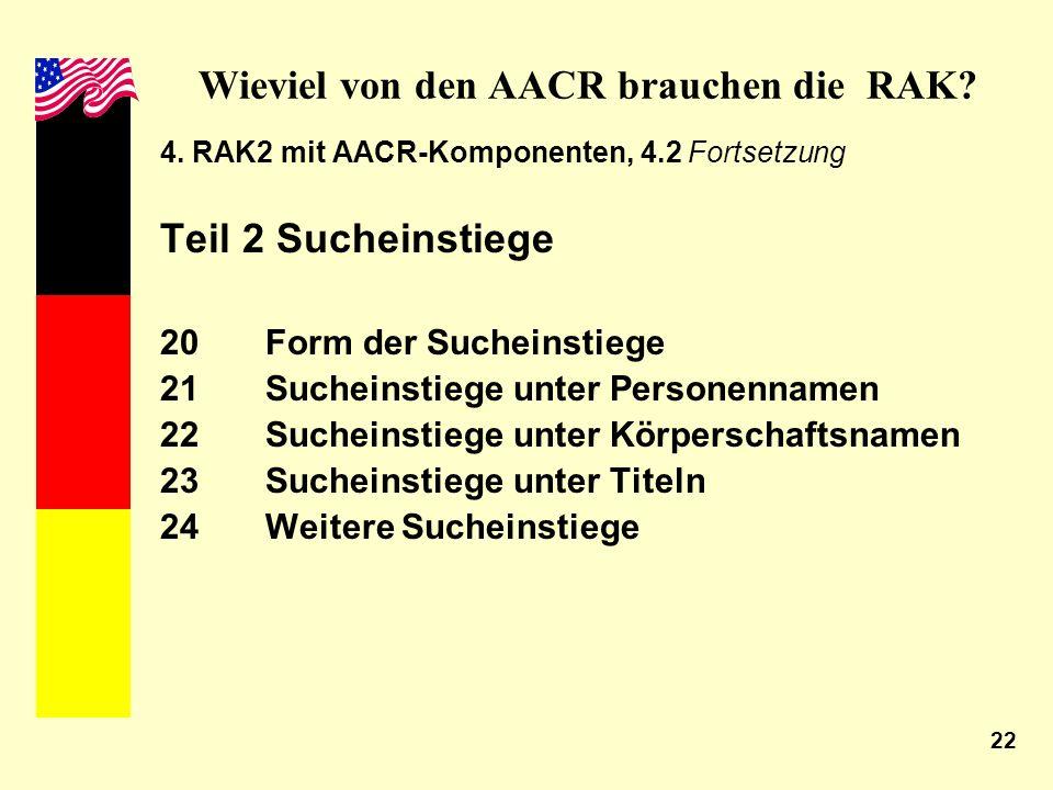 22 Wieviel von den AACR brauchen die RAK? 4. RAK2 mit AACR-Komponenten, 4.2 Fortsetzung Teil 2 Sucheinstiege 20Form der Sucheinstiege 21 Sucheinstiege