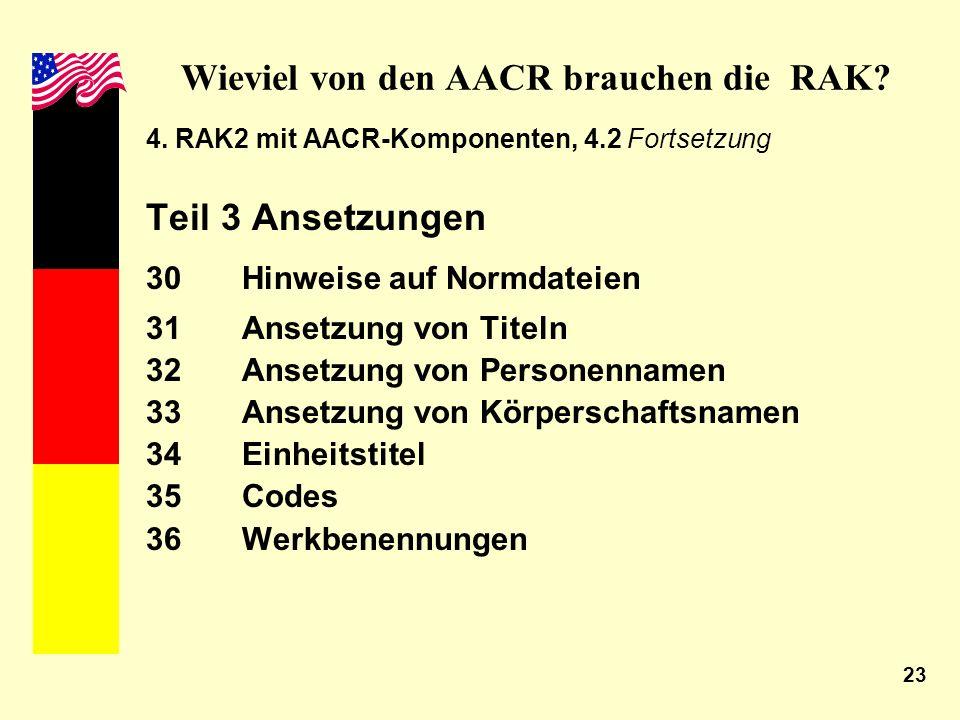23 Wieviel von den AACR brauchen die RAK? 4. RAK2 mit AACR-Komponenten, 4.2 Fortsetzung Teil 3 Ansetzungen 30 Hinweise auf Normdateien 31Ansetzung von