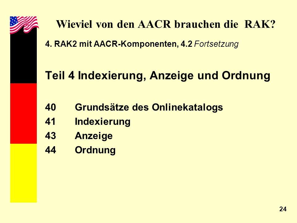 24 Wieviel von den AACR brauchen die RAK? 4. RAK2 mit AACR-Komponenten, 4.2 Fortsetzung Teil 4 Indexierung, Anzeige und Ordnung 40Grundsätze des Onlin