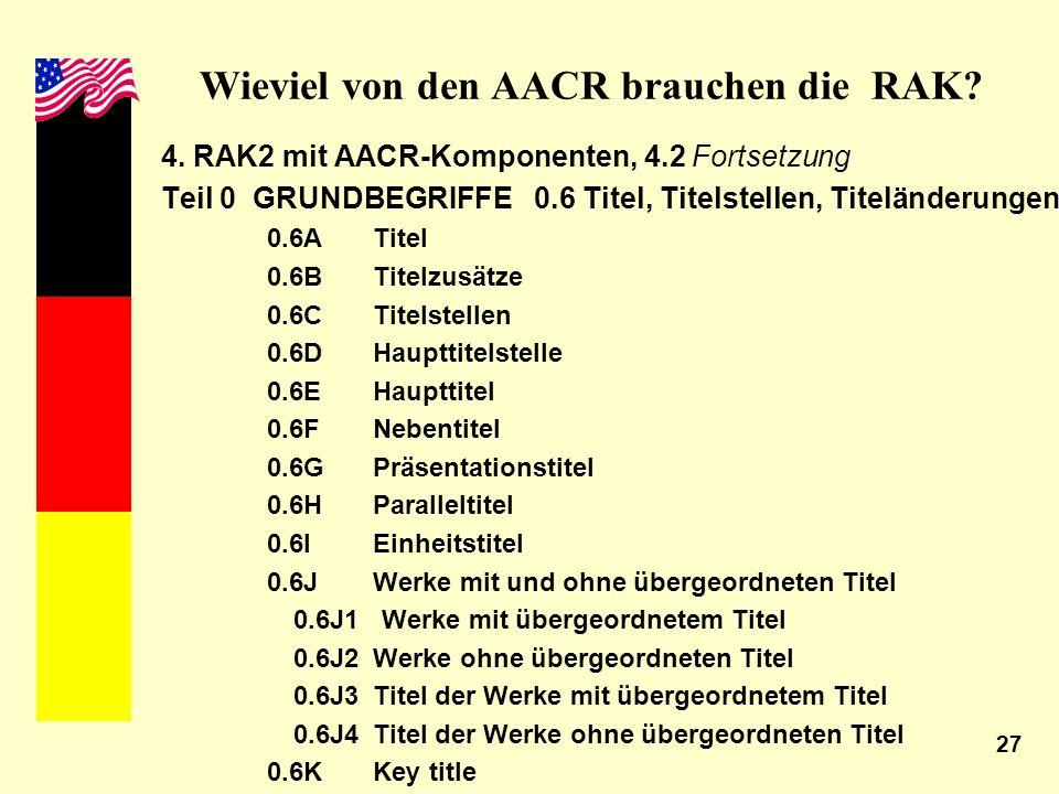 27 Wieviel von den AACR brauchen die RAK? 4. RAK2 mit AACR-Komponenten, 4.2 Fortsetzung Teil 0 GRUNDBEGRIFFE 0.6 Titel, Titelstellen, Titeländerungen