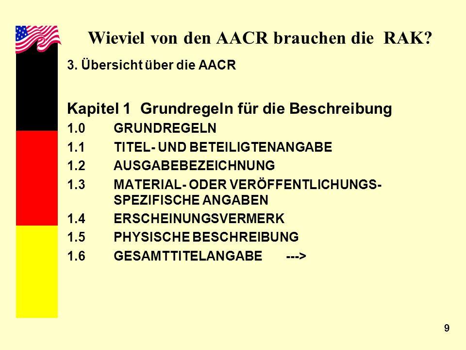 9 Wieviel von den AACR brauchen die RAK? 3. Übersicht über die AACR Kapitel 1 Grundregeln für die Beschreibung 1.0GRUNDREGELN 1.1TITEL- UND BETEILIGTE